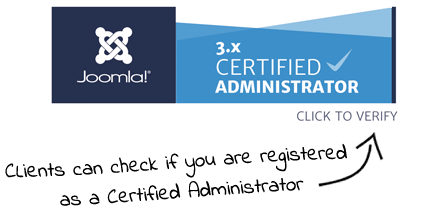 Joomla Administrator Badge Verify Arrow